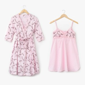 Комплект для беременных и кормящих (сорочка, халат) 630 цвет серый/розовый, р-р 52 Ош