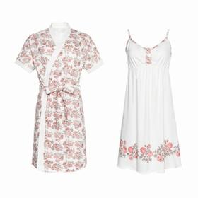 Комплект для беременных и кормящих (сорочка, халат) 550 цвет бежевый/цветы, р-р 50 Ош