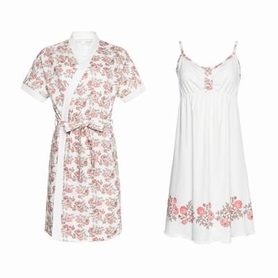 Комплект для беременных и кормящих (сорочка, халат) 550 цвет бежевый/цветы, р-р 50