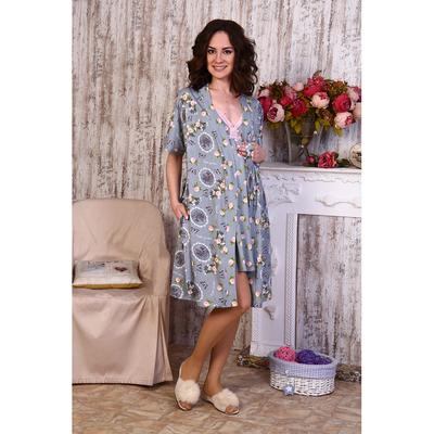 Комплект для беременных и кормящих (сорочка, халат) 641 цвет серый, р-р 52