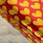 """Пленка голография """"Золотые сердца"""", красный, 70 х 100 см"""