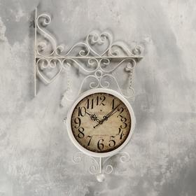 "Часы настенные двойные, серия: Садовые, ""Леея"", d=23 см, 61х33 см"