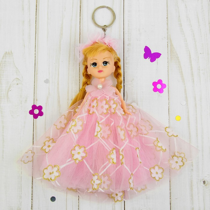 """Игрушка-брелок """"Куколка"""" розовое платье, на голове фата"""