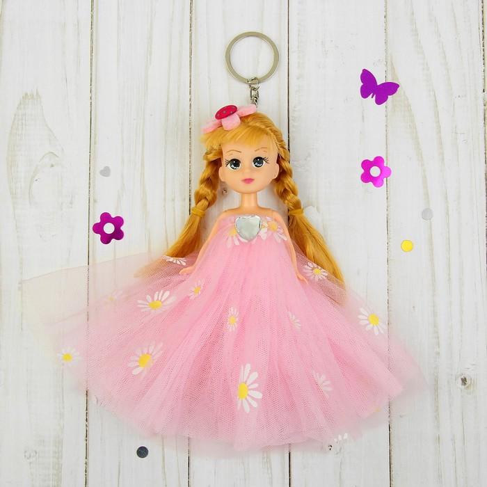 """Игрушка-брелок """"Модница"""" розовое платье, на голове цветок"""