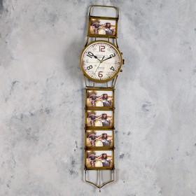 """Часы настенные, серия: Фото, """"Наручные часы"""", d=15 cм, 5 фоторамок, коричневые, 17х71 см"""