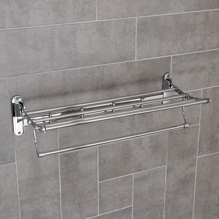Полка откидная с держателем полотенец, 4 двойных крючка, 58×25×15 см, цвет хром