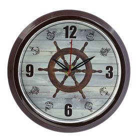 """Часы настенные круглые """"Штурвал"""", обод коричневый, 30х30 см"""
