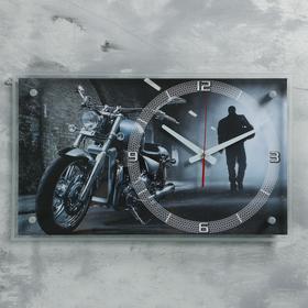 """Часы настенные, серия: Транспорт, """"Мотоцикл в ночи"""", 36х60 см"""