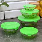 """Набор салатников с крышками """"Киви"""", 5 шт: 130/200/350/500/900 мл, цвет зеленый"""