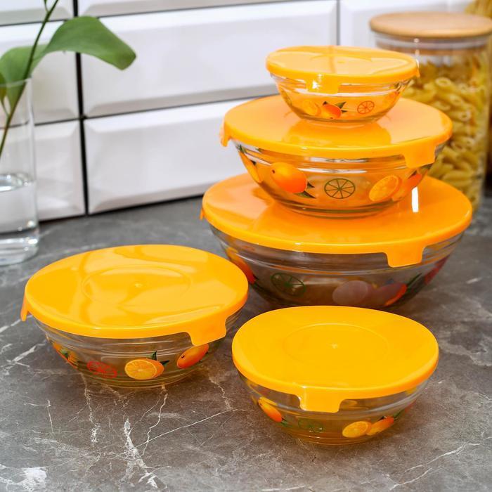 """Набор салатников с крышками """"Апельсин"""", 5 шт: 130/200/350/500/900 мл, цвет оранжевый - фото 797907174"""