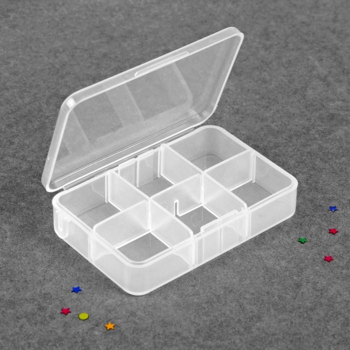 Контейнер для декора, 6 ячеек, 9 × 6 × 2,7 см, цвет прозрачный