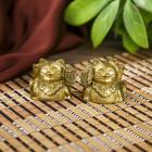 """Сувенир полистоун """"Манэки-нэко"""" набор 2 шт бронза 2,5х2,5х2,5 см"""