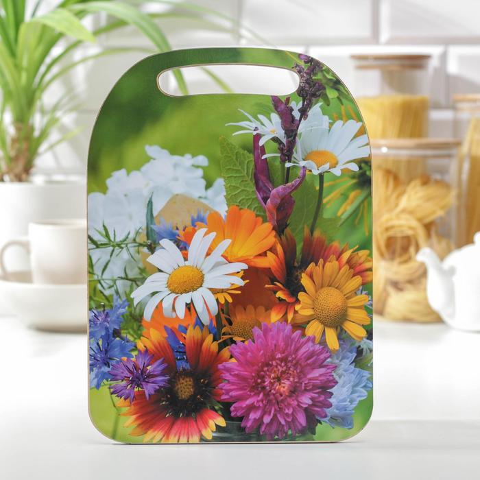 Доска разделочная «Цветы», 29×21×0,6 см
