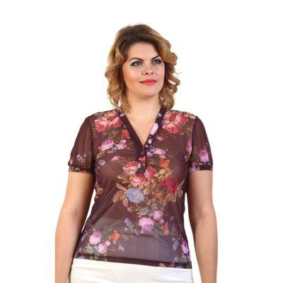 Блузка женская, размер 50, бордовый принт 130В337