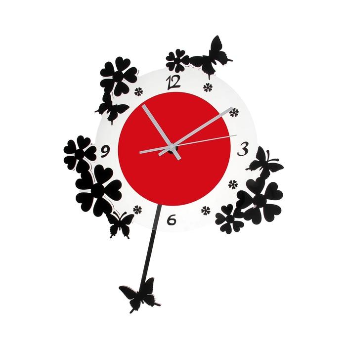 """Часы настенные интерьерные """"Серия Акрил. Весеннее настроение"""" с маятником в форме бабочки, чёрно-красные"""