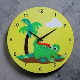 """Часы настенные, серия: Детские,  """"Динозаврик с пальмой"""", d=29.5 см"""