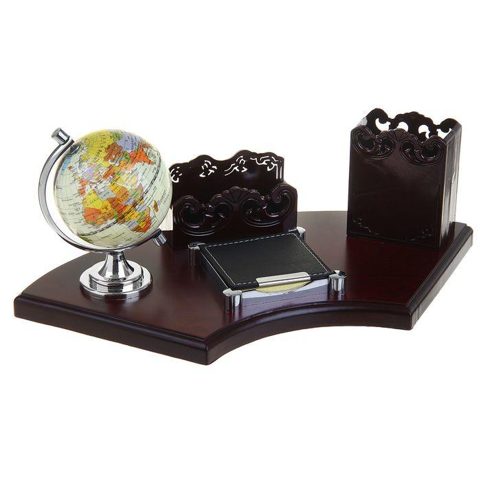 Набор настольный «Престиж»: глобус, визитница, блок для бумаги, подставка для ручек