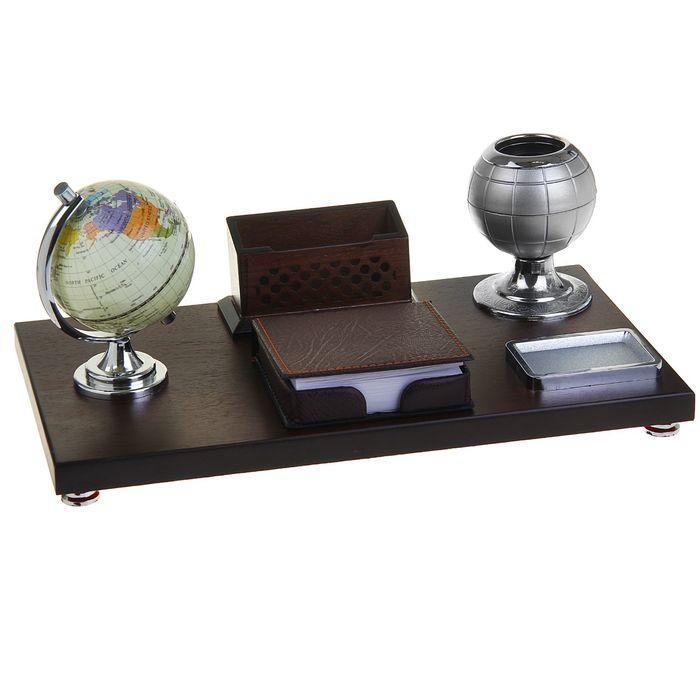 Набор настольный «Успех»: глобус, подставка для ручек, визитница, блок для бумаги, лоток для скрепок