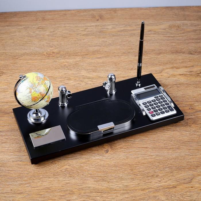 Набор настольный «Сенсация»: глобус, визитница, блок для бумаги, ручка, лоток для скрепок