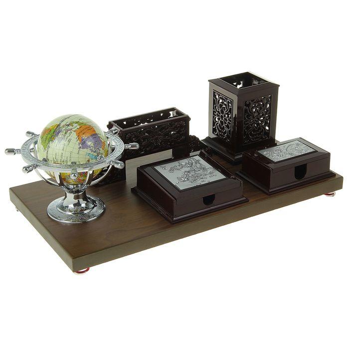 Набор настольный «Античность»: глобус, блок для бумаги и мелочей, визитница, подставка для ручек