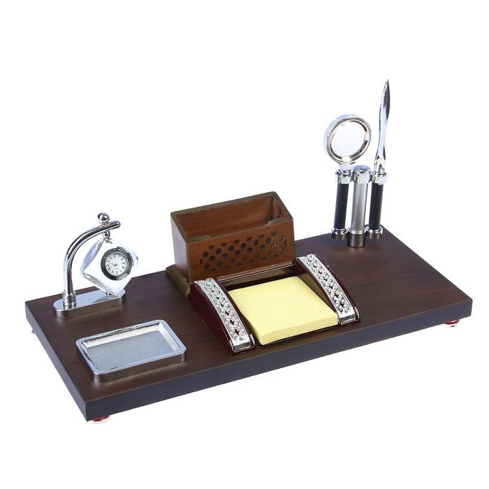 Набор настольный «Детали»: часы, визитница, блок для бумаги, лоток для скрепок, нож для писем, лупа