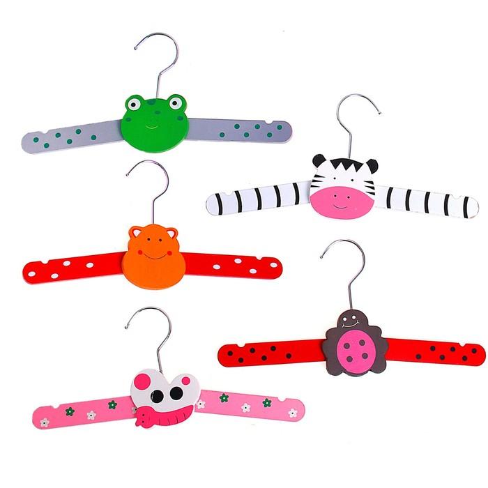 Вешалка-плечики детская складная, размер 30-34, Зоопарк, цвет МИКС