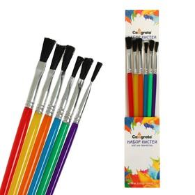 Набор кистей, нейлон, плоские, 6 штук, с пластиковыми цветными ручками