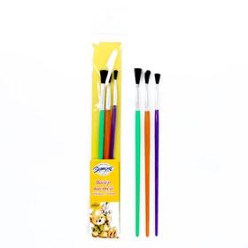 Набор кистей, нейлон, плоские, 3 шт., с пластиковыми цветными ручками