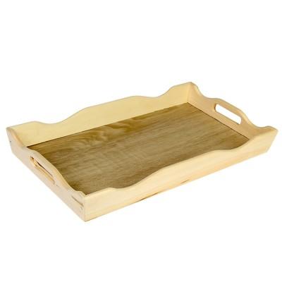Поднос фигурный для завтрака со вставкой, цвет орех сонома, МАССИВ, 49х6х28,5см
