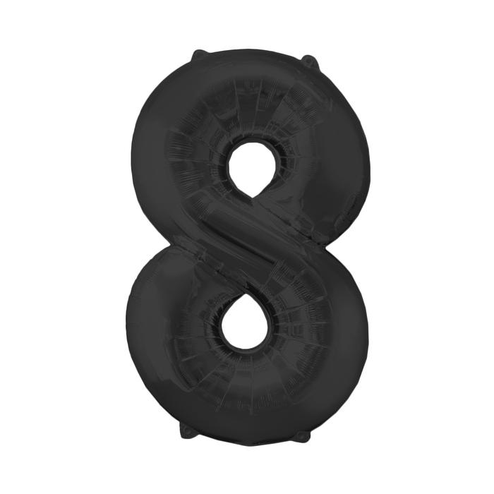 """Шар фольгированный 40"""", цифра 8, индивидуальная упаковка, цвет чёрный - фото 308473180"""