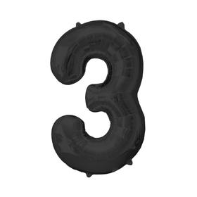 """Шар фольгированный 16"""" Цифра 3, индивидуальная упаковка, цвет чёрный"""