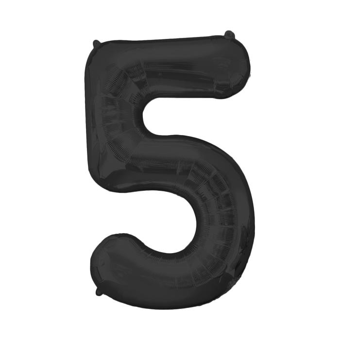 """Шар фольгированный 16"""" Цифра 5, индивидуальная упаковка, цвет чёрный - фото 957417"""