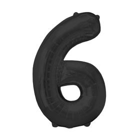 """Шар фольгированный 16"""", цифра 6, индивидуальная упаковка, цвет чёрный"""