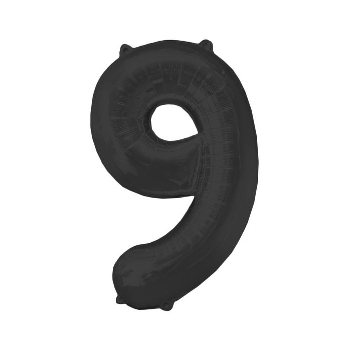 """Шар фольгированный 16"""", цифра 9, индивидуальная упаковка, цвет чёрный - фото 308473214"""