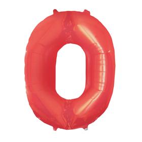 """Шар фольгированный 16"""" Цифра 0, индивидуальная упаковка, цвет красный"""