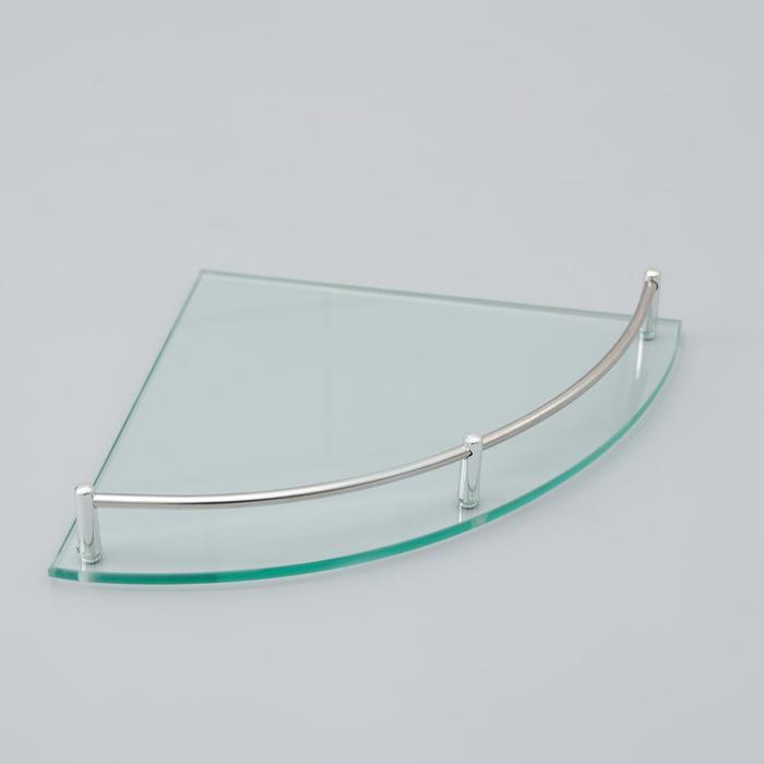 Полка угловая для ванной комнаты, 24×24×4 см, металл, стекло