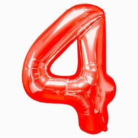 """Шар фольгированный 16"""" Цифра 4, индивидуальная упаковка, цвет красный"""