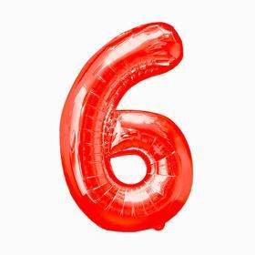 """Шар фольгированный 16"""", цифра 6, индивидуальная упаковка, цвет красный"""