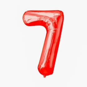 """Шар фольгированный 16"""", цифра 7, индивидуальная упаковка, цвет красный"""