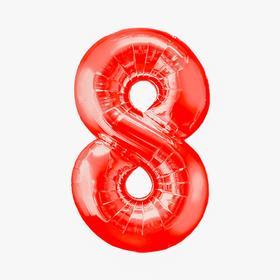 """Шар фольгированный 16"""", цифра 8, индивидуальная упаковка, цвет красный"""