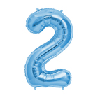 """Шар фольгированный 16"""" Цифра 2, цвет голубой"""
