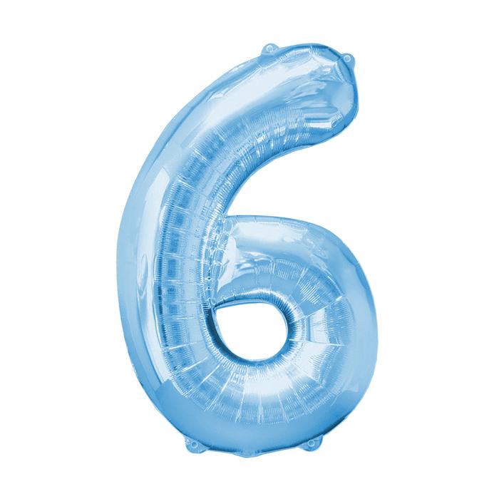 """Шар фольгированный 16"""", цифра 6, индивидуальная упаковка, цвет голубой - фото 957451"""