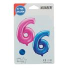 """Шар фольгированный 16"""", цифра 6, индивидуальная упаковка, цвет голубой - фото 957452"""