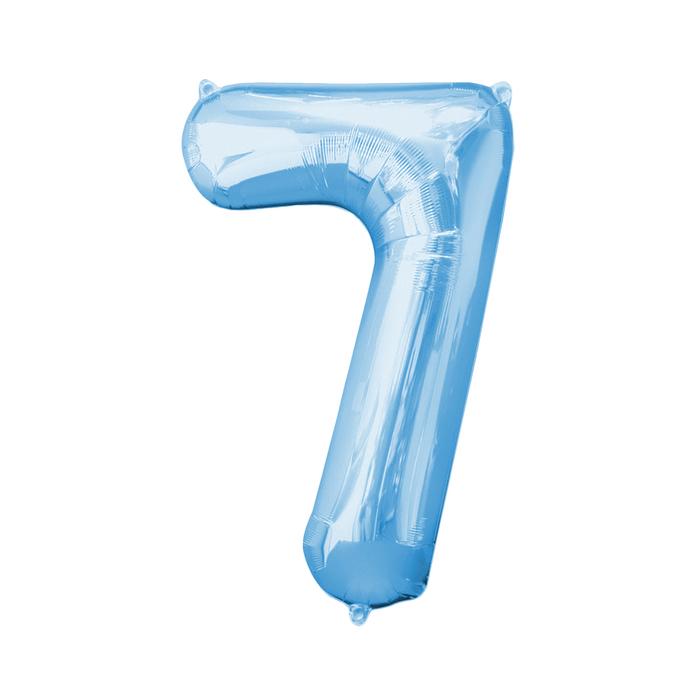 """Шар фольгированный 16"""", цифра 7, индивидуальная упаковка, цвет голубой - фото 957453"""