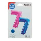 """Шар фольгированный 16"""", цифра 7, индивидуальная упаковка, цвет голубой - фото 957454"""