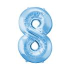 """Шар фольгированный 16"""", цифра 8, индивидуальная упаковка, цвет голубой - фото 957455"""