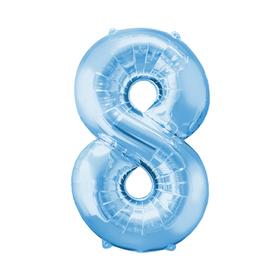 """Шар фольгированный 16"""", цифра 8, индивидуальная упаковка, цвет голубой"""