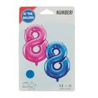 """Шар фольгированный 16"""", цифра 8, индивидуальная упаковка, цвет голубой - фото 957456"""