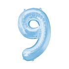 """Шар фольгированный 16"""", цифра 9, индивидуальная упаковка, цвет голубой"""