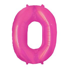 """Шар фольгированный 16"""" Цифра 0, индивидуальная упаковка, цвет розовый"""